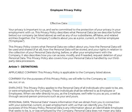 Employee Privacy Policy preview