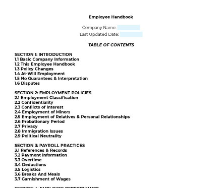 Employee Handbook preview