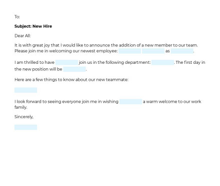 Announcement of New Employee preview