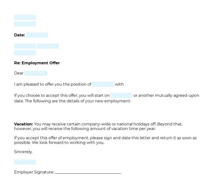 Employee Offer Letter preview