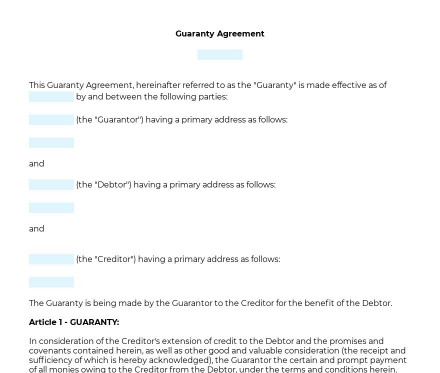 Guaranty Agreement preview