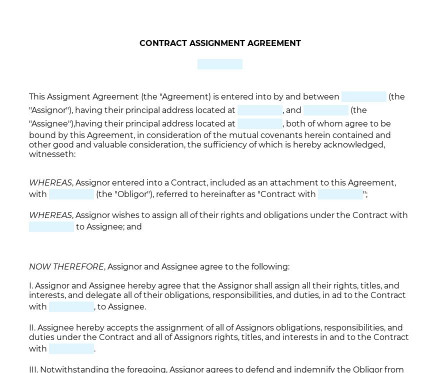 Contract Assignment Agreement preview
