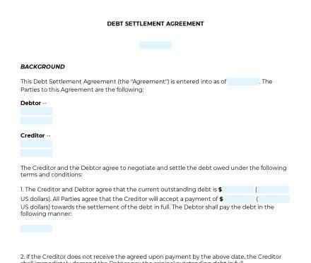Debt Settlement Agreement preview