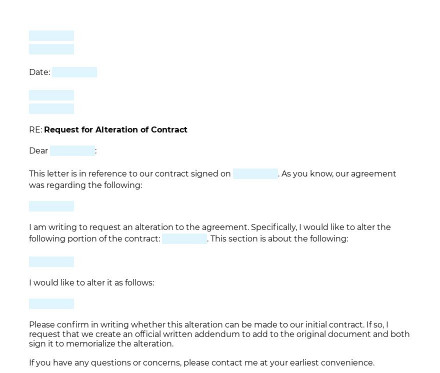 Request to Alter Contract preview