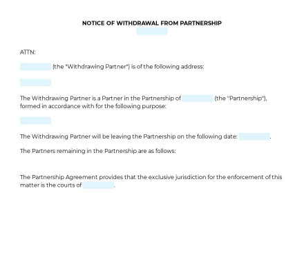 Notice of Withdrawal from Partnership preview