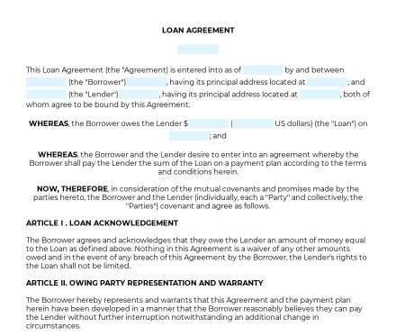 Loan Agreement preview