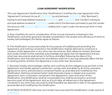 Loan Agreement Modification preview