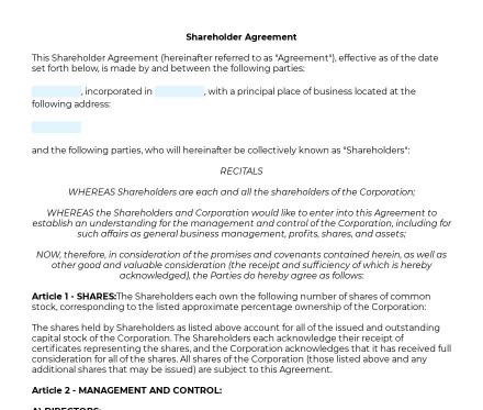 Shareholder Agreement preview