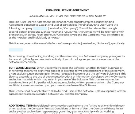 End-User License Agreement preview