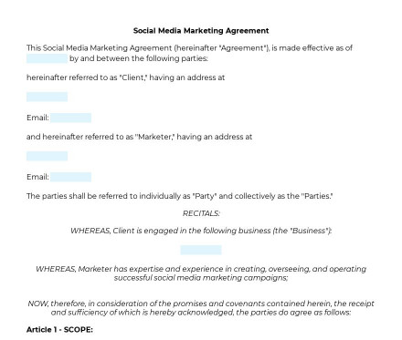 Social Media Marketing Agreement preview