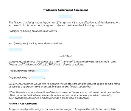 Trademark Assignment preview