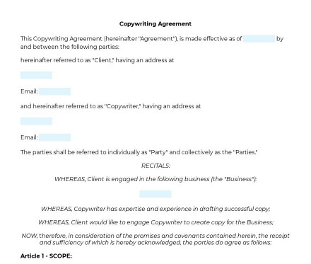 Copywriting Agreement preview