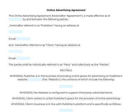 Online Advertising Agreement preview