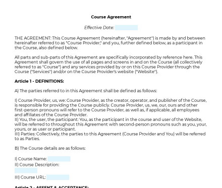 Online Course Agreement preview