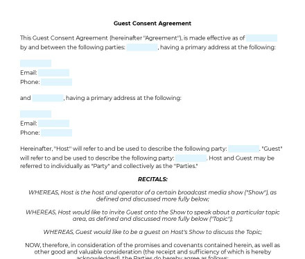 Guest Consent Agreement preview