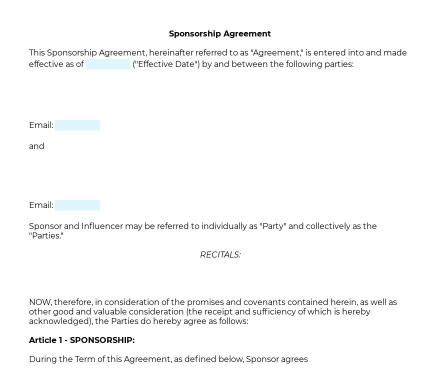 Online Sponsorship Agreement preview
