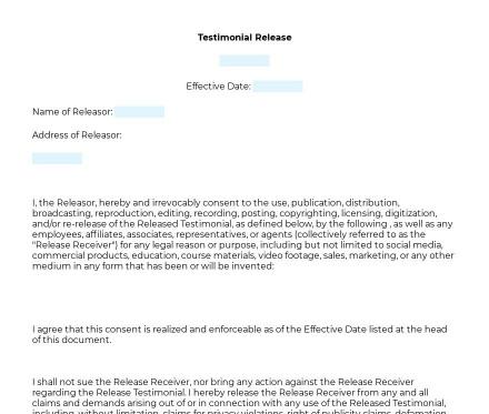 Testimonial Release preview