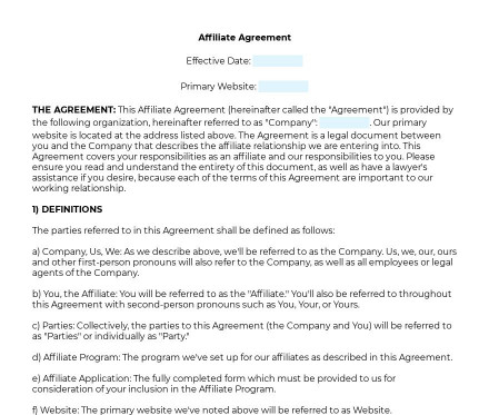 Affiliate Agreement preview