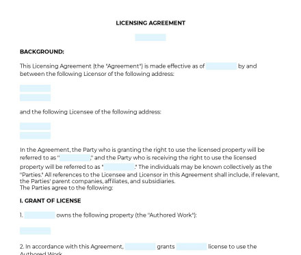Licensing Agreement preview