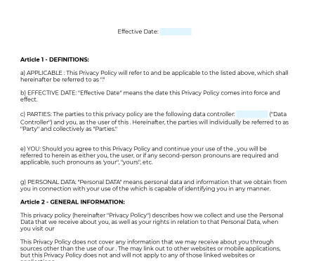 Privacy Policy For Website Or Mobile App preview