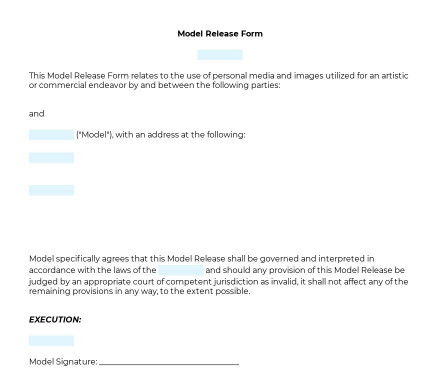 Model Release Form preview