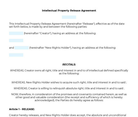 Intellectual Property Release Form preview