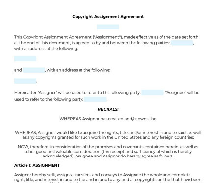 Copyright Assignment preview