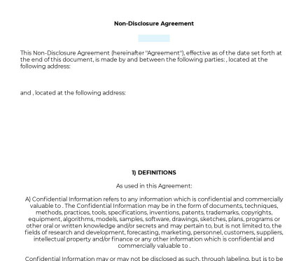 Non-Disclosure Agreement (NDA) preview