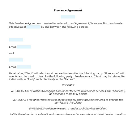 Freelance Agreement preview