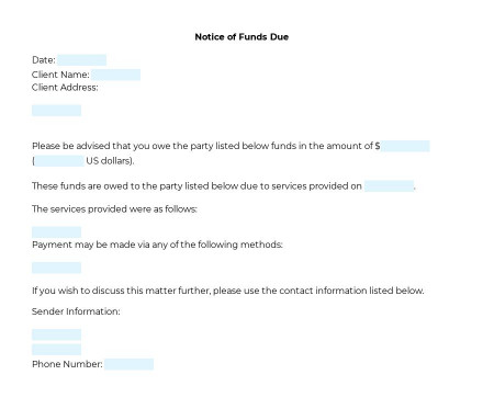 Notice of Funds Due for Client preview