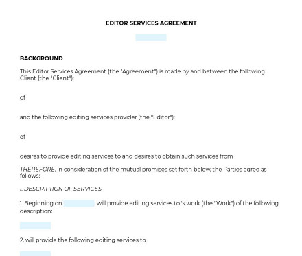 Editor Services Agreement preview