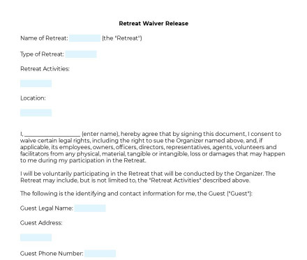 Retreat Waiver preview