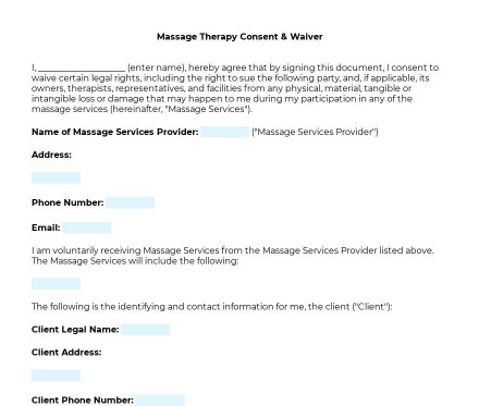 Massage Therapy Consent & Waiver preview