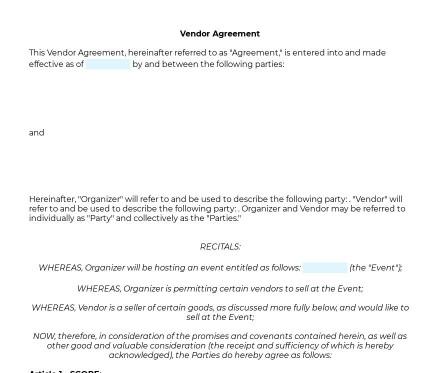 Vendor Agreement preview
