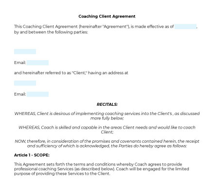 Coaching Client Agreement preview