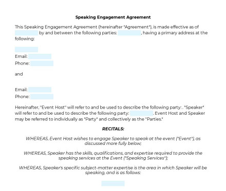 Speaking Engagement Agreement preview