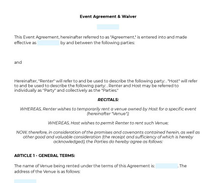 Event Agreement & Waiver preview