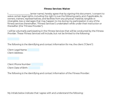Fitness Services Waiver preview
