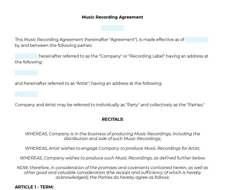 Music Recording Contract preview