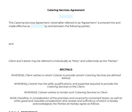 Catering Agreement preview