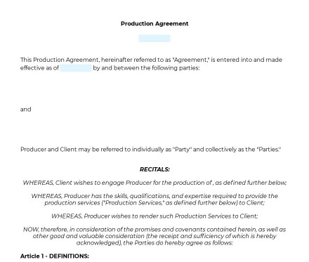 Production Agreement preview