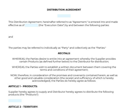 Distribution Agreement preview