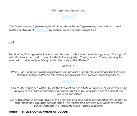 Consignment Agreement preview