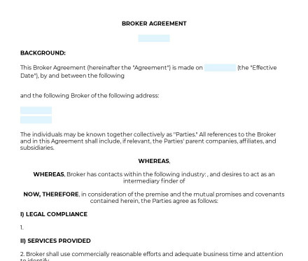 Broker Agreement preview