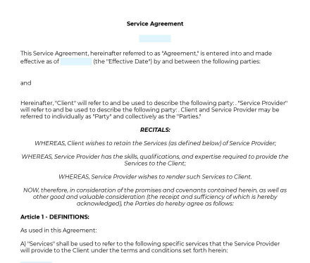 Service Agreement preview