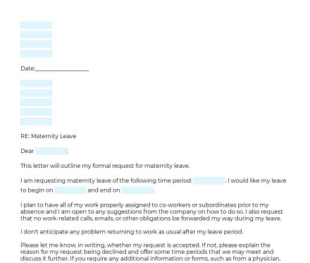 Letter Requesting Maternity Leave preview