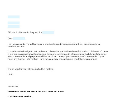 Medical Records Request preview