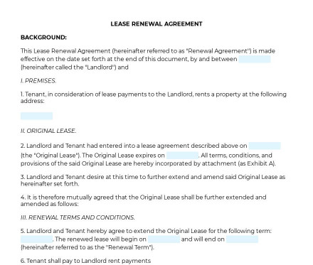 Lease Renewal Agreement preview