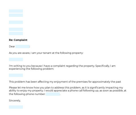 Complaint Letter to Landlord preview