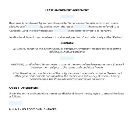 Lease Amendment Agreement preview